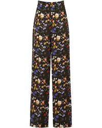 The Vampire's Wife The Penitent Floral Silk Wide-leg Trousers - Black