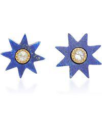Colette - Star 18k Gold Lapis Earrings - Lyst