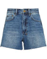 Ksubi Rise N Hi Frayed Denim Shorts - Blue
