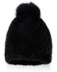 Pologeorgis - Pom Pom-embellished Fox-fur And Mink Beanie - Lyst