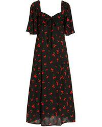 HVN Long Emily Printed Crepe Midi Dress - Black