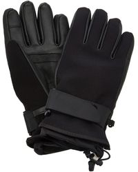 3 MONCLER GRENOBLE Leather-paneled Tech-twill Ski Gloves - Black