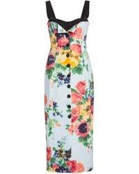 Carolina Herrera Floral-print Stretch-cotton Midi Dress - Multicolour