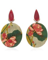 Silvia Furmanovich Marquetry Pink Flower Earrings - Multicolor