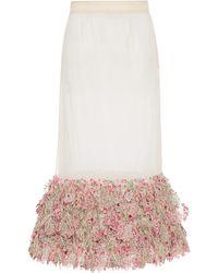 Rahul Mishra Bougainvillea Floral-embroidered Organza Skirt - Pink