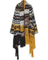 Oscar de la Renta Fringed Floral-embroidered Wool-blend Coat