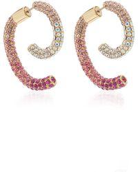 DEMARSON Luna Convertible 12k Gold-plated Crystal Earring Set - Pink