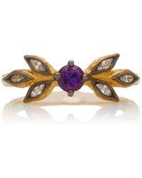 Cathy Waterman 22k Yellow Gold Amethyst And Diamond Ring - Purple