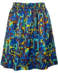 La DoubleJ All-over Print Pouf Skirt - Blue