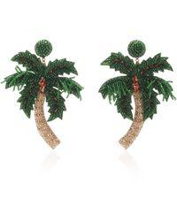 Deepa Gurnani Palm Tree Glass Earrings - Green