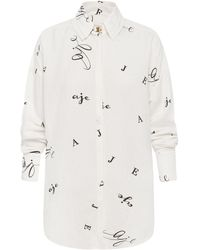 Aje. Psychedelia Logo Linen-blend Shirt - White