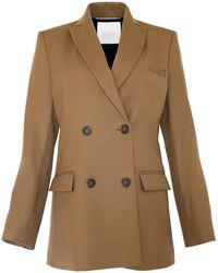 STUDIO AMELIA Classic Wool Box Blazer - Brown