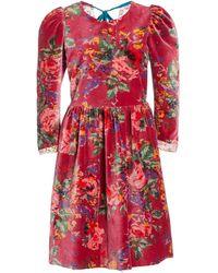 Alix Of Bohemia Ruby Red Velvet Dress - Pink