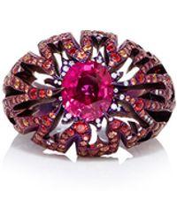 Arunashi - Titanium Ruby Flame Ring - Lyst