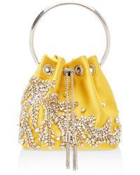 Jimmy Choo Bon Bon Crystal-embellished Satin Bucket Bag - Yellow
