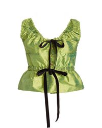 Ciao Lucia Ilaria Ruched Tie-front Silk Top - Green