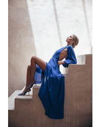 Cult Gaia Hera Cutout Crepe Gown - Blue