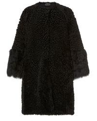 Prada Oversized Fur Evening Coat - Black