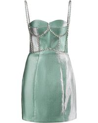 Area Crystal-trimmed Twill Bustier Dress - Green