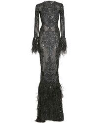 Zuhair Murad Beaded And Feather-trimmed Silk Gown - Black