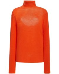 Ganni Wool Knit Turtleneck Sweater - Orange