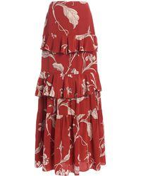 Johanna Ortiz Real Thinking Floral Silk Maxi Skirt - Red