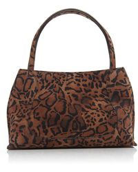 BY FAR Charlotte Leopard-print Suede Shoulder Bag - Brown