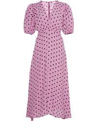 Faithfull The Brand Vittoria Polka Dot Crepe Midi Dress - Pink