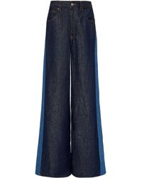 MM6 by Maison Martin Margiela Two-tone Rigid High-rise Wide-leg Jeans - Blue