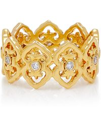 Colette - Motif 18k Gold And Diamond Ring - Lyst