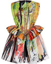 Christopher Kane Printed Peplum Cady Mini Dress - Multicolour