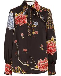 Victoria, Victoria Beckham Floral-printed Recycled-twill Shirt - Black