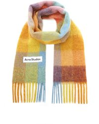 Acne Studios Vally Oversized Fringed Plaid Wool-blend Scarf - Multicolour