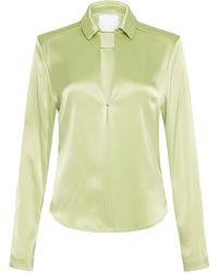 Paris Georgia Basics Collared Satin Shirt - Green