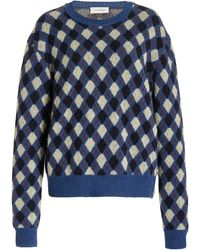 Wales Bonner Williams Button-detailed Argyle-knit Sweater - Blue