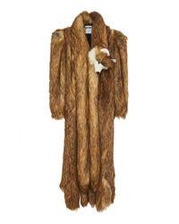 Moschino Faux Fur Full-length Coat - Brown