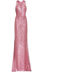 Naeem Khan Criss-cross Sequin Gown - Pink
