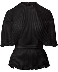 Brandon Maxwell Pleated Silk-chiffon Wrap Top - Black
