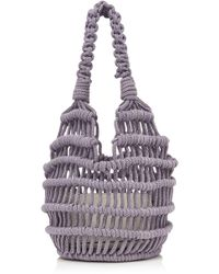 Les Petits Joueurs Amina Knotted Woven Rope Bag - Purple