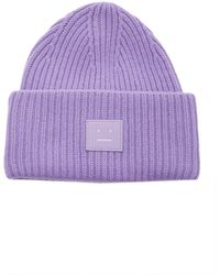 Acne Studios Face-patch Beanie lavender Purple