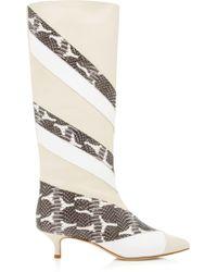 Tibi - Hart Paneled Snake-effect Leather Boots - Lyst