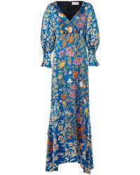 Peter Pilotto - Floral-print Balloon-sleeve Silk-satin Gown - Lyst