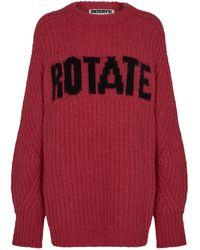 ROTATE BIRGER CHRISTENSEN Brandy Oversized Logo-knit Wool-blend Sweater - Red