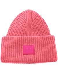 Acne Studios Rib Knit Beanie Hat neon Pink
