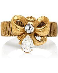 Rodarte - Antique Gold Bow Expandable Bracelet With Swarovski Detail - Lyst
