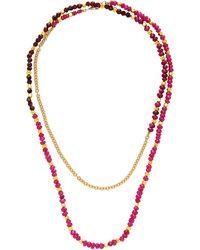 Objet-a Josef A La Plage 18k Gold, Ruby And Garnet Necklace - Red