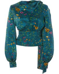 AMUR Ray Floral-patterned Silk Blouse - Blue