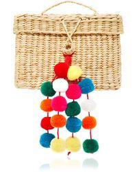 Nannacay Baby Roge Pom Pom-embellished Woven Raffia Tote - Multicolour