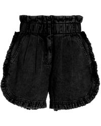 Sea Idun Ruffled Denim Mini Shorts - Black