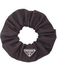 Prada Logo-detailed Nylon Hair Scrunchie - Black